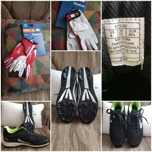 Boys softball shoes and batting gloves